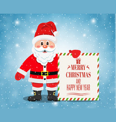 merry santa claus standing with christmas banner vector image