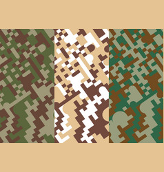 Military green and brown geometric pixel vector