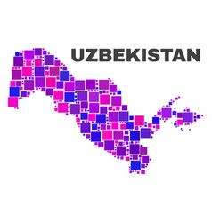 mosaic uzbekistan map of square elements vector image