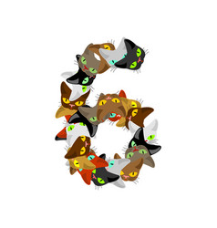 number 6 cat font cats number six pet alphabet vector image