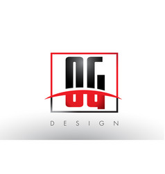 og o g logo letters with red and black colors and vector image