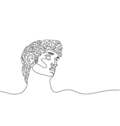 one continuous line drawing antique statue vector image