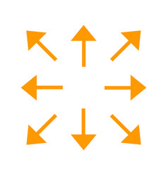 orange long arrows in 8eight different directions vector image