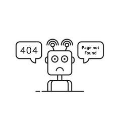 Outline sad robot like 404 error vector