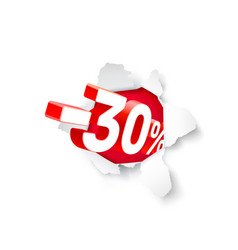 Paper explosion banner 30 off with share discount vector