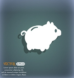 Piggy bank icon On the blue-green abstract vector image