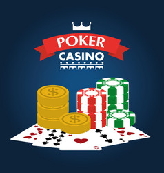 poker casino club entertainment playing money chip vector image