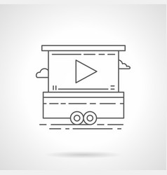 Promo video screen flat line icon vector