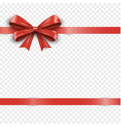 realistic horizontal red silk gift bow with ribbon vector image