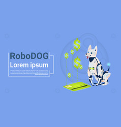 robotic dog sit with credit card mobile payment vector image