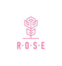 Rose linear logo pink flower icon template vector