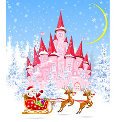 Santa and deers on the background of a pink castle vector