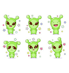 set kawaii aliens vector image