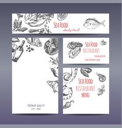 sketch - seafood corporate vector image