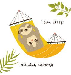 Sloth having a nap in a hammock cute character vector