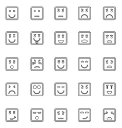 Square face line icons on white background vector image
