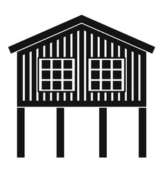 Stilt house icon simple style vector