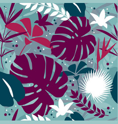 summer background tropical palm leaves jungle vector image