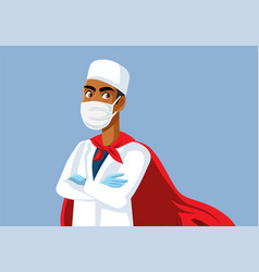 superhero male doctor wearing a cape vector image