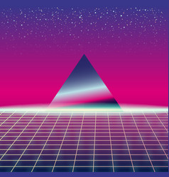Synthwave retro futuristic landscape with pyramids vector