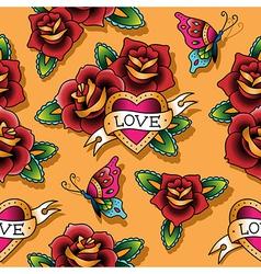 Tattoo love pattern rose vector