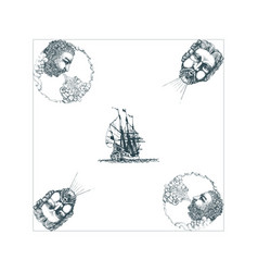 The anemoi gods winds and old sailing ship vector