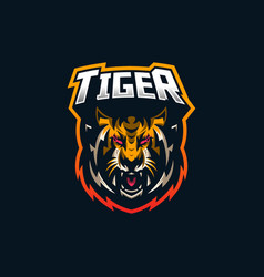 tiger esport gaming mascot logo template for vector image
