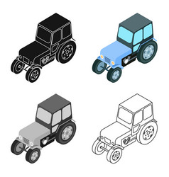 Tractor icon in cartoon style isolated on white vector
