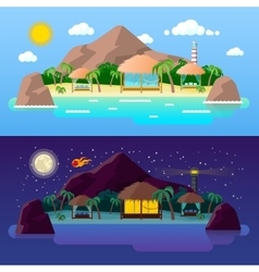 Tropical Island Landscape with Mountains vector