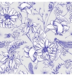 Vintage garden flowers seamless pattern vector