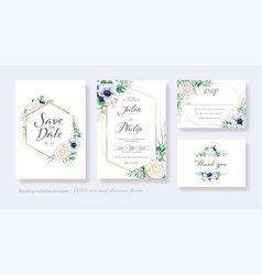 wedding invitation save date thank you rsvp vector image