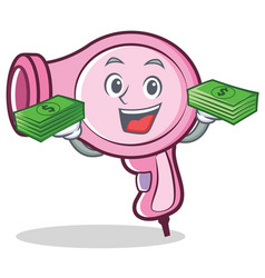 With money hair dryer character vector