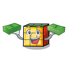 With money rubik cube mascot cartoon vector