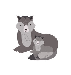 wolf with pup isolated on white background vector image