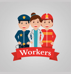 workers group people profession employee cartoon vector image