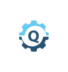gear solution logo initial q vector image vector image