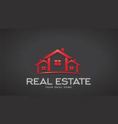 red real estate houses logo design vector image