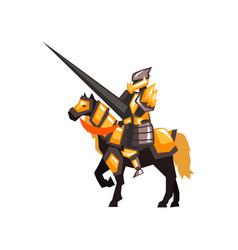 royal knight on horseback armored horse rider vector image