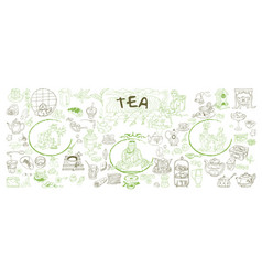 sketch traditional tea elements set vector image