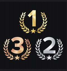 trophy award set figures 1 2 3 one two vector image vector image