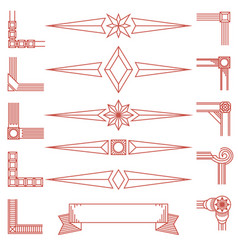vintage geometric shapes and corners isolated on vector image