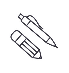 pen and pencil line icon sign vector image