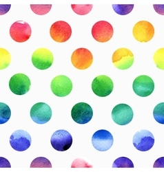 Rainbow watercolor seamless dots pattern vector image