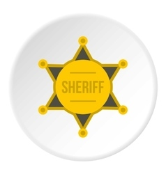 Sheriff badge icon flat style vector image vector image