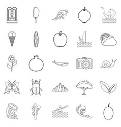 summer rest icons set outline style vector image