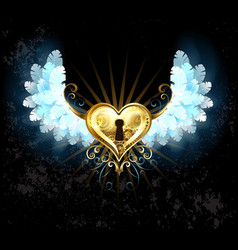 Mechanical Heart with White Wings vector image
