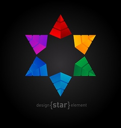 Original colorful Star made of pyramids vector image