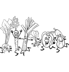running vegetables cartoon for coloring vector image vector image