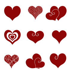 set of icons of red hearts vector image