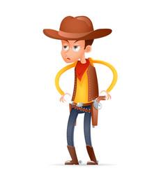 cowboy wild west american retro gunman cartoon vector image